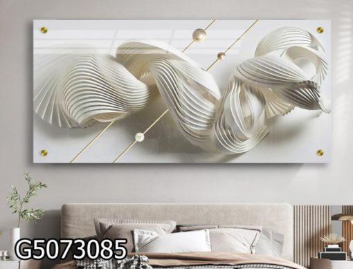 תמונה לבנה יוקרתית על זכוכית מתאימה לסלון או לפינת אוכל או ללובי דגם G5073085