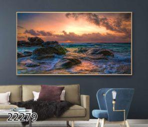 תמונה על זכוכית של נוף ים על זכוכית לסלון או לפינת אוכל דגם 22279