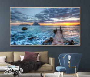 תמונה של נוף ים הדפסה על זכוכית לסלון או למשרד דגם 22579