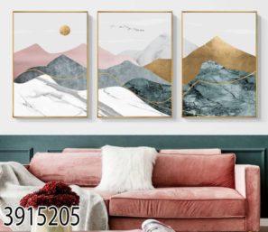 MODERN - סט תמונות נורדיות של נוף הרים לסלון או לפינת אוכל 3915205