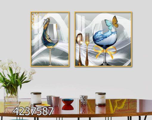 באווירת המטבח - סט תמונות עם כוסות וסכום על רקע כסוף למבטח ולפינת אוכל הדפסה על זכוכית דגם 4237587