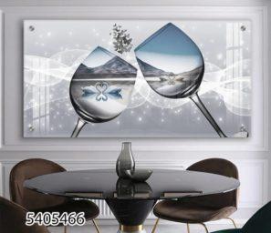 ביטוי אהבה - תמונה דקורטיבית של כוסות יין וברבורים לפינות אוכל או מטבחים דגם 5405466