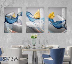 יין כחול וכוסות - סט תמונות זכוכית לפינת אוכל או למטבח דגם 3431395
