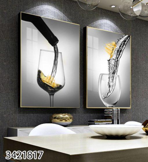 כוסות יין ואניות - זוג תמונות למטבח או לפינת אוכל הדפסה על זכוכית דגם 3421817