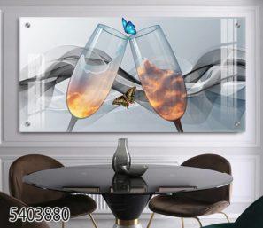 משקה העננים - תמונה דקורטיבית עם פרפרים וכוסות יין לפינת אוכל או למטבח דגם 5403880
