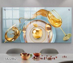 תמונת זכוכית מעוצבת של תפוחים עם יין לפינת אוכל או למטבח דגם 5422862
